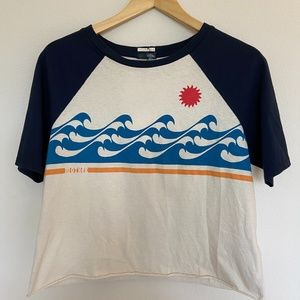 NWT MOTHER Brand Cropped Wave Graphic Raglan Tee